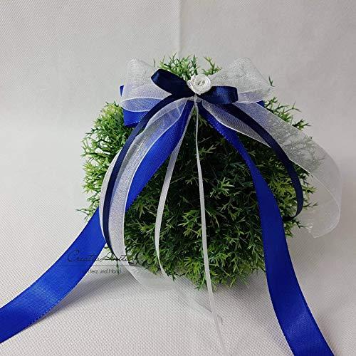 10 Stück Autoschleifen - Antennenschleifen - Spiegelschleifen Hochzeit Blau mit Weiß oder Creme