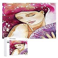 水彩画の肖像 木製パズル大人の贈り物子供の誕生日プレゼント(50x75cm)1000ピースのパズル