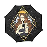 Mr.XZY Hermosa niña bruja paraguas inverso gato negro marrón nubes perla resistente al viento paraguas para coche boca abajo paraguas con mango en forma de C 2010418