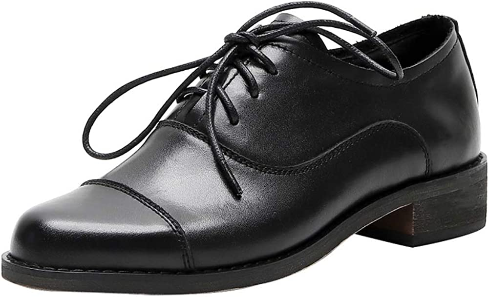 ONEENO Fashionable Women's Directly managed store Brogue Lace-up Leather Oxford