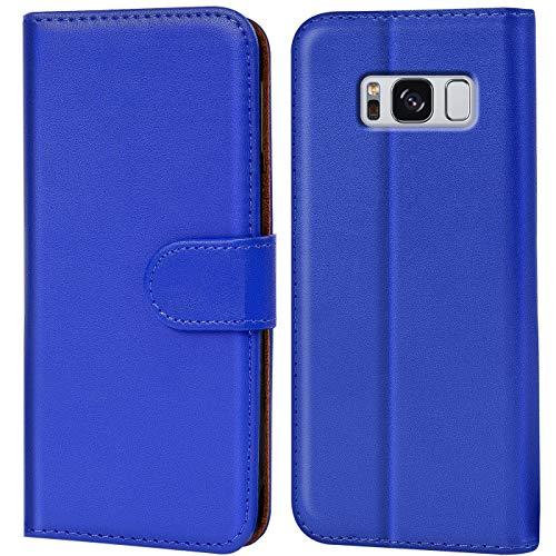 Verco Galaxy S8 Hülle, Handyhülle für Samsung Galaxy S8 Tasche PU Leder Flip Hülle Brieftasche - Blau