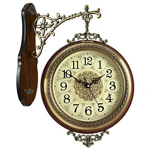 Unbekannt Wanduhren Clock Doppel Wanduhr Retro zweiseitige Wanduhr Kamin Mute Wanduhr Dekorative zweiseitige Uhr Wanduhren (Color : Brown, Size : 40 * 50cm)