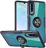 Funda Huawei P30,Estuche protector armadura diseño fibra carbono cristal soporte giratorio 360 grados agarrar anillos dedo [Característica montaje automóvil magnético] para Huawei P30,Marco Azul