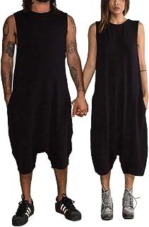 Livingsenburg Couple Clothes Jumpsuits Harem Oversize Overalls Casual Baggy Sleeveless Jumpsuit Playsuit Trousers Pants Du...