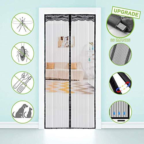 Magnetische Tür gegen Mückenschutz 100x220 cm Insektensicherer Bildschirm mit Mückenschutz, mit magnetischem Türvorhang, Nylonschnalle mit Fliegenschutzmoskonnetz für Balkontür, schwarz