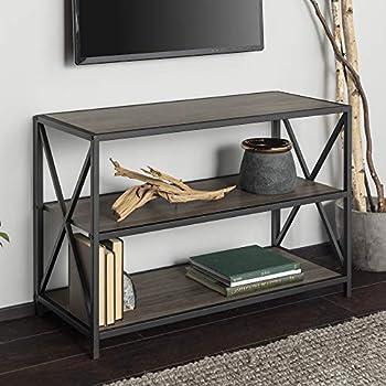 Walker Edison 2 Tier Open Shelf Industrial Wood Metal Bookcase Tall Bookshelf Home Office Storage 40 Inch Black