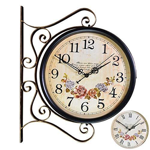Reloj Reloj de Pared de Doble Cara Casa de Campo Sin tictac Estilo Retro Europeo Hierro Forjado Sala de Estar Dormitorio 360 & deg; Relojes Decorativos de rotación 3D
