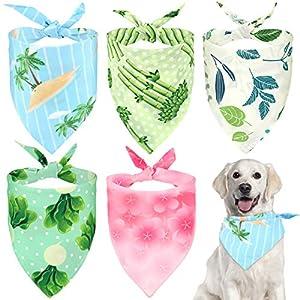 VavoPaw Cute Pet Bandana, 5 Pack Machine Washable Bibs Dog Kerchief Set Soft Dog Cat Triangle Head Scarfs for Pet Puppy – Colorful