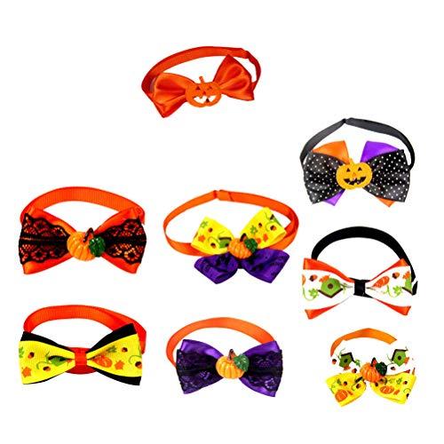 iplusmile suministros para animales de compañía de Halloween 15 piezas accesorios de collar ajustable con lazo para mascotas de compañía para perros y gatos