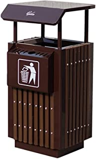 C-J-Xin Park Trash Can, Heavy Street Stainless Steel Trash Can Outdoor Garden Waste Collection Bin Thicken Aggravation Tra...