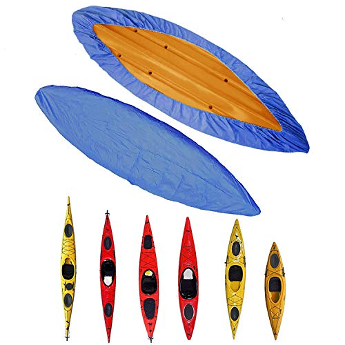 ZMYGOLON Kayak Cover 3.6m-4m/11.8 -13ft - Canoe Cockpit Dust Cover -Outdoor Storage Dust Cover Waterproof UV Sunblock Shield Protector for Fishing Boat/Kayak/Canoe Blue