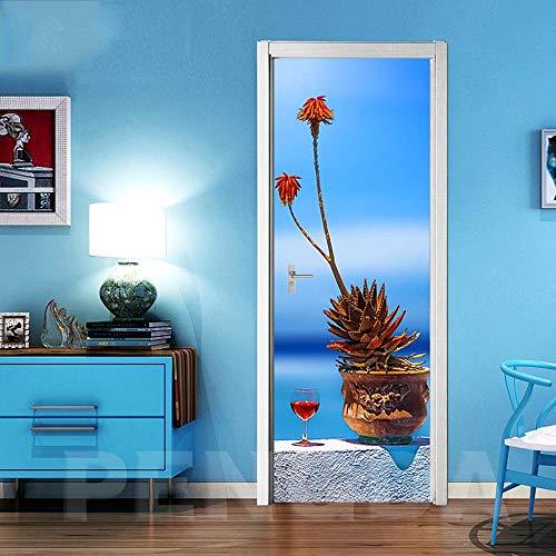 SPSPKZ Door Art Mural Pegatinas Puerta Foto Poster Puerta Pared Niños Cuarto Baño Cocina Sala Escalera Autoadhesivas Vinilo Impermeable Planta De Vino Tinto Cielo Azul En Maceta Arte Moderno Decoració
