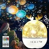 SPECOOL Lámpara Proyector Estrellas Infantil,USB Recargable 360° Rotación Músic Lampara con Control Remoto y 6 Películas Aplicar de Proyección para Habitación Bebé, Dormitorio,Fiesta de cumpleaños