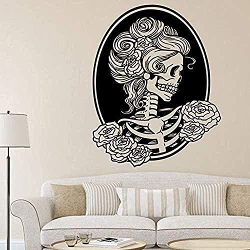 Adhesivo de pared de PVC de alta calidad extraíble frase calavera horror zombie calcomanía 57x70Cm