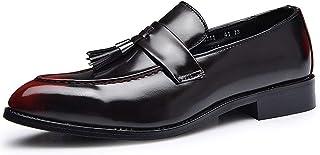 Pu Leather Shoes Men Business Tassel Shoes Light, Soft, Tough, (Color : Red, Size : 41)