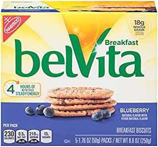 belVita Breakfast Biscuits, Blueberry Flavor, 30 Packs (4 Biscuits Per Pack)