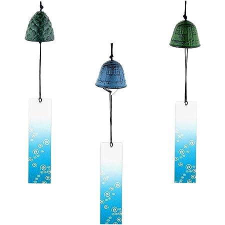 Traditional Japanese Iwachu Cast Iron Bell Wind Chimes Tulip-Shaped Blue