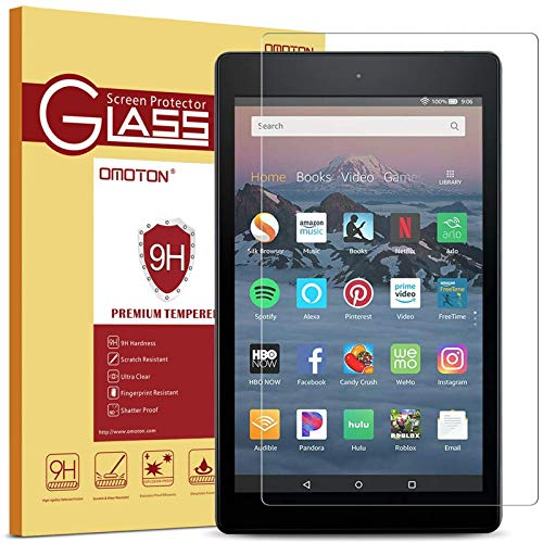 OMOTON Screen Protector for Fire HD 8 (8th and 7th Generation, 2018/2017/2016 Release), Not for Fire HD 8 10th Generation released in 2021, Tempered Glass/HD / 9H Hardness