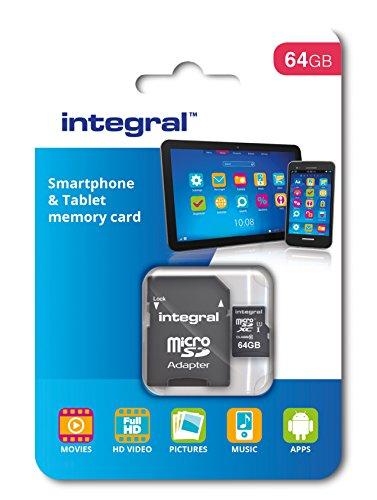 Integral - Micro SD XC 64Go, Carte Mémoire Haute Vitesse jusqu'à 90MB/s, Pour Smartphones & Tablettes compatibles, Classe 10, UHS-I, U1 + Adaptateur SD