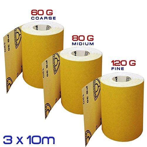 Preisvergleich Produktbild Schleifpapier-Set,  bestehend aus 60 g (grob) + 80 g (mittel) + 120 g (fein),  Aluminiumoxid,  3 Rollen x 10 m (Klingspor Deutschland)