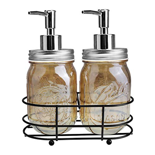 Rich Life 2 Pack Mason Jar Soap Dispenser Bathroom Accessories - with 16 Ounce Mason Jar for Bathroom or Kitchen, Perfect for Liquid Soap, Essential Oils and Lotions(Amber)
