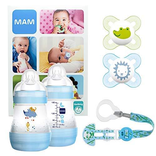 MAM Welcome Baby Starter Set, kit nouveau né, cadeau de naissance 2 biberons Easy Start anti-colique (160mL), 2 tétines Start silicone 0-2 mois & leur attache, garçon