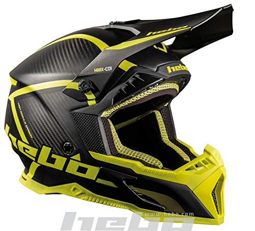 Hebo MX Legend Carbon Enduro Helm, Unisex, lindgrün, XX-Large
