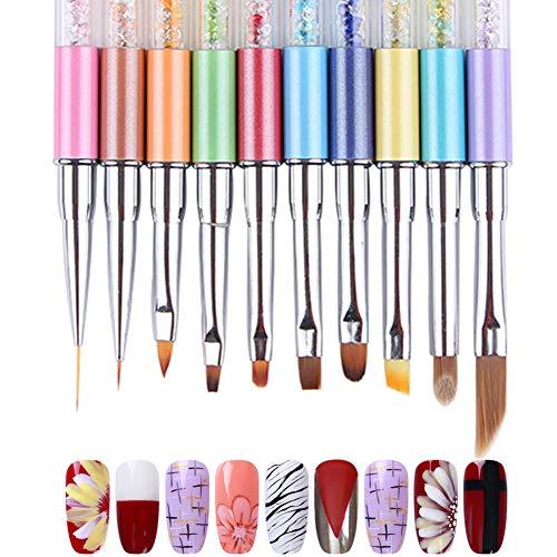 NICOLE DIARY 10Pcs Painting Liner Dizzy Dye Brushes Set Nail Art Gradient Brush Acrylic Drawing UV Gel Pen