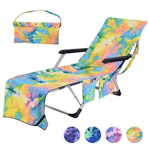 """Idubai Pool Chair Towel with Side Pockets,Microfiber Chaise Lounge Towel Cover for Sun Lounger Pool Sunbathing Garden Beach Hotel,Easy to Carry Around,No Sliding,Tie-Dye Yellow(82.5"""" x 29.5"""")"""