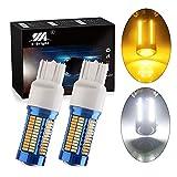 EverBright 7443 7444NA Led Switchback T20 7440 7443 Led Bulb for Turn Signal Bulb Daytime Running Lights Parking Light, 108SMD 3014Chipset, Amber/White, DC-12V, Pack of 2