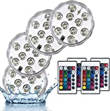 DOITO Submersible LED Light,Pool lights tub lights led shower light Waterproof Underwater Pool Lights 16 Colors Changing Underwater Bathtub Lights with Remote Control for Aquarium Pond (4 Packs)