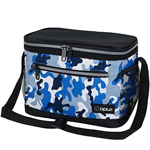 OPUX Insulated Lunch Box for Men Women, Leakproof Thermal Lunch Bag for Work, Reusable Lunch Cooler Tote, Soft School Lunch Pail for Kids with Shoulder Strap, Pockets, 14 Cans, 8L, Camo Blue