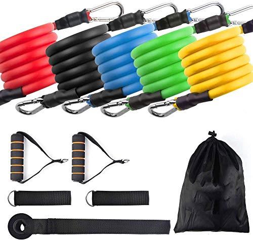 Cintura fitness da uomo/donna con 5 tubi per il fitness, ancoraggi per porta, imbracature, scatole per il trasporto, guida per esercizi
