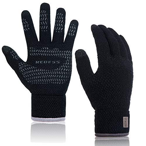 REDESS Womens Mens Winter Warm Touchscreen Knit Gloves,High Sensitive Fleece Lined Texting Gloves/Black