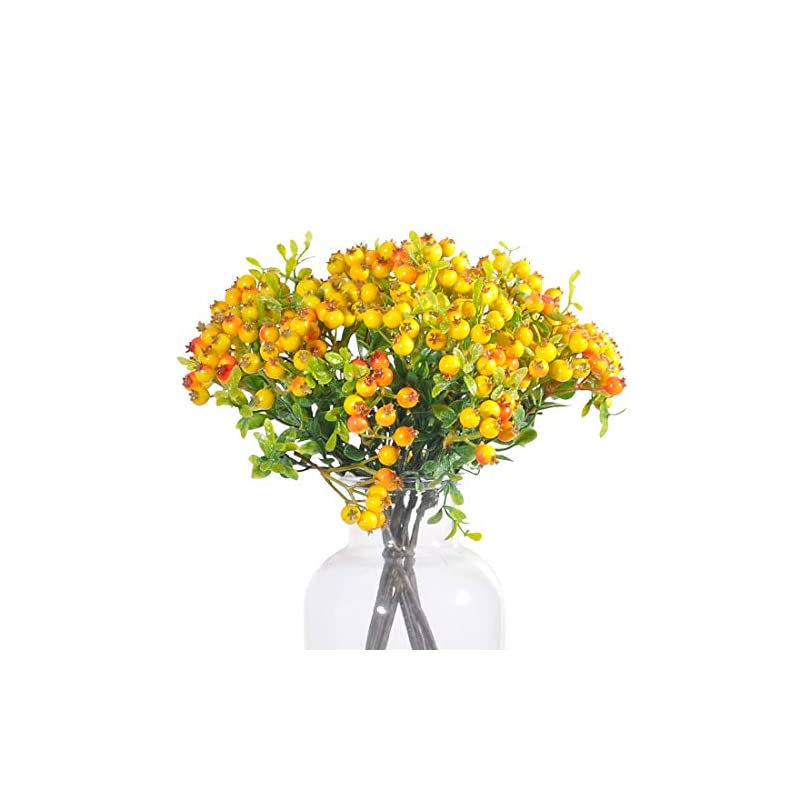 jd artificial plants 8 pack 11 inch artificial berry stems shrub holly branch for home decor wedding bouquet christmas trees (yellow)