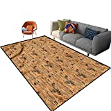Indoor Room Coffee Area Rugs,4'x 6',Grinder with Coffee Cups Floor Rectangle Rug with Non Slip Backing for Entryway Living Room Bedroom Kids Nursery Sofa Home Decor