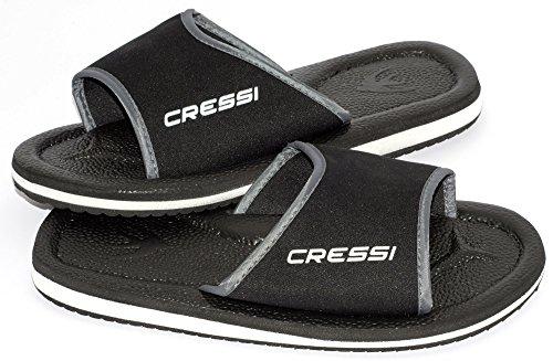 Cressi Lipari - Slipper für Strand und Schwimmbad - Erwachsene und Kinder,Mehrfarbig (Schwarz), 44 EU