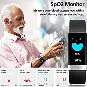 MorePro Fitness Activity Tracker Heart Rate Blood Pressure Monitor, IP68 Wateproof Smart Watch with Blood Oxygen HRV Health Sleep Tracking, Smartwatch Calorie Counter Pedometer for Women Men (Black)