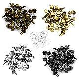 Nsiwem Pies de bolsillo 120 piezas de clavos de tierra para bolsos Aleación pies con clavos de tierra Clavos de cono de punta para fabricación de bolsos