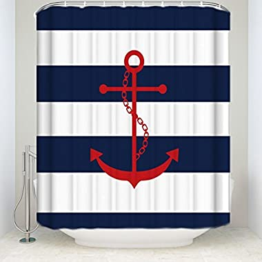 Red Anchor On Blue Stripes Print Shower Curtain Home Decor Bath Curtain Collections 72x78Inches