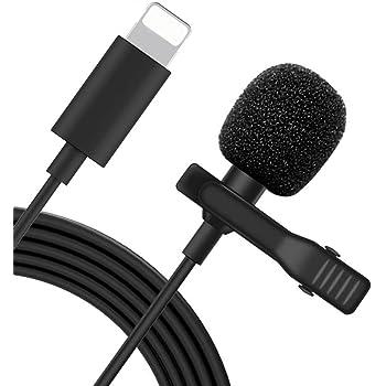 iPhone iPad マイク Lightning マイク コンデンサマイク クリップ式 ピンマイク ライトニング マイク 高音質 全方向性 録音/カラオケ/撮影/ゲーム実況/インタビュー用 iPhone11/11 Pro/11 Pro Max/XS/XS Max/XR/X/8/8Pなど対応
