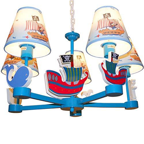 Hangende plafondlamp kind 5 spots kroonluchter design lampenkap van stof gedecoreerd met piratenschip voor babykamer meisjes jongen E14 * 5 Ø60 cm * 45 cm [Energy Class A ++]