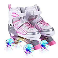 【4 SIZE ADJUSTABLE SKATES】 -Small: fits US little kids shoe size 9-12. Medium: fits US big kids shoe size 13-3. The Kids adjustable roller skates size can be adjusted. Perfect for growing children. 【8 WHEELS ILLUMINATING ROLLER SKATES】 -With the cool...