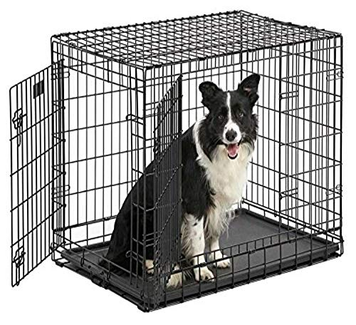 """Ulitma Pro (Professional Series & Most Durable MidWest Dog Crate) Extra-Strong Double Door Folding Metal Dog Crate w/ Divider Panel, Floor Protecting """"Roller Feet"""" & Leak-Proof Plastic Pan"""