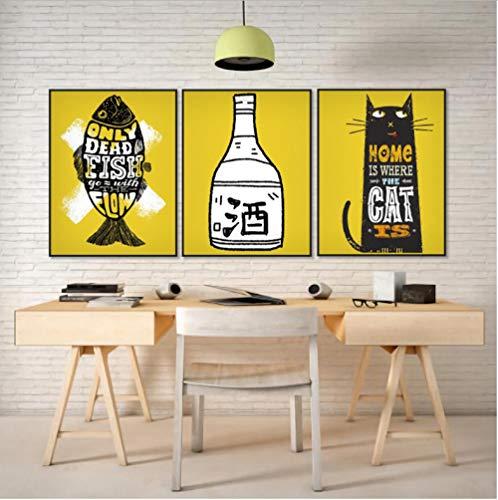 Gstbgbr Glückliche Leinwand Malerei Kalligraphie 3 Panel Cartoon Wein Fisch Katze Poster und Drucke Wandbilder für Wohnzimmer Küche Decor Geschenk-3
