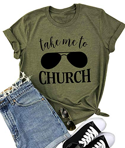 YUYUEYUE Take Me to Church T Shirt Women Country Music Casual Short Sleeve O Neck Tops Tee (X-Large, Army Green)