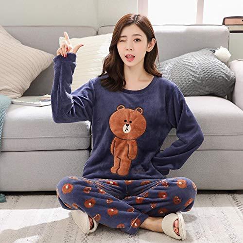 Pyjama Damen Nachthemd Schlafanzug Dicke Warme Flanell-Pyjama-Sets Für Frauen Winter Langarm Coral Velvet Pyjama Mädchen Süße Homewear Pyjama M 16