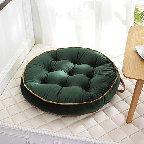 XQWZM Modern Solid Color Chair Cushion,Round Dutch Velvet Floor Seating Cushions,Futon Home Decorative Cushion,Living Room Yoga Tatami-Green 58x58cm(23x23inch)