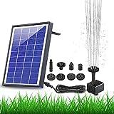 AISITIN Bomba solar de fuente de 6,5 W, panel con batería auxiliar, bomba de agua solar para fuente flotante, 6 boquillas, para baño de pájaros, pecera, estanque o decoración de jardín