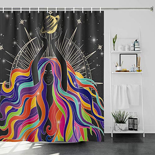 Generleo African American Women Duschvorhang Schwarz Mädchen Duschvorhang Sexy Afro Lady mit bunten Haaren Duschvorhang Weltraum Sterne Planeten Duschvorhang-Sets mit Haken